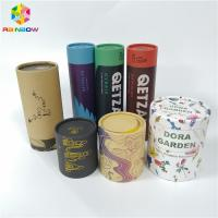 China Round Kraft Paper Box Packaging Tube Push Up Lid CMYK Color For Food Packaging on sale
