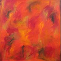 Quality abstract painting pink rose 40x40cm hotel room decor for sale