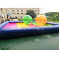 Quality 8 * 8 m PVC tarpaulin Blue Rainbow Color Inflatable Water Pool For Kids Playing for sale