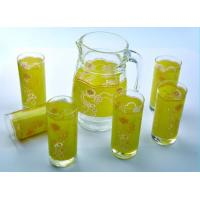 China Yellow Printed 7pc Drinking Glasses Sets For Pure Water DWDS04 on sale