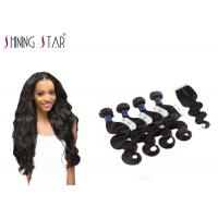 4 Bundles Unprocessed Remy Hair Extensions Weave With Closure No Bad Smell