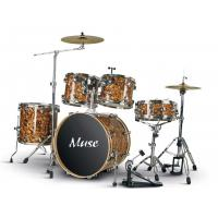 Quality Celluloid 5 Piece Golden Adult Drum Set With Bass Drum / Floor Tom / Tom Tom for sale