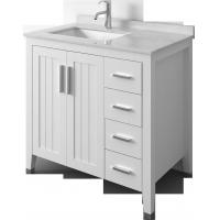 Buy White Solid Wood Bathroom Vanity Cabinets / sink basin cabinet at wholesale prices