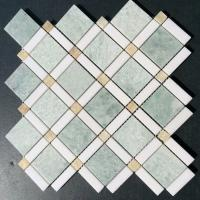 Quality Shiny Ming Green Marble Stone Mosaic Tile With Thassos Polished Onyx Dot for sale