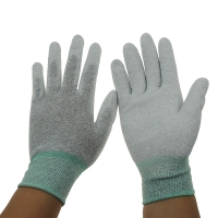 Quality Grey 13G 280D Nylon PU Coated Palm Fit ESD Gloves for sale