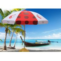 Quality Luxury Red And White Outdoor Cafe Umbrellas With 500D Oxford Fabric , Heat Transfer Printing for sale