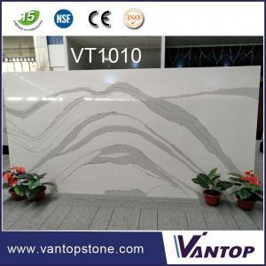 China White Marble Vein Composite Quartz Stone for Kitchen Countertop on sale