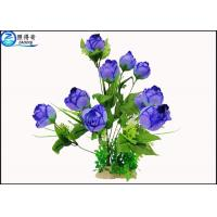 Quality Upscale Flowers Blue Rose Fake Plastic Aquatic Plants Artificial Ornamental Plant Wholesale for sale