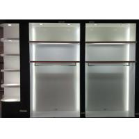 Quality Matte White Wooden Retail Clothing Fixtures Apparel Store Shelves With LED Lights for sale