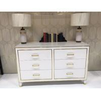 China White High Gloss Hotel Room Dresser 6 Drawers With Metal Strip , PU Lacquer Paint on sale