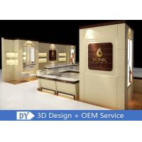 Quality Custom Wooden Glass Jewellery Display Cabinets Cream - Colored For Retail Shop for sale