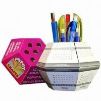 Quality Advertising Pop-up Ball Paper Pen Holders, Cube Measures 13x13x7.5cm for sale