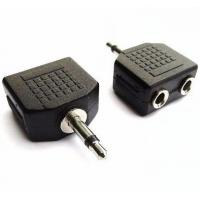 Quality Audio Cable Connectors , 3.5mm Mono Male to Dual Port 3.5mm Mono 2 Female Splitter Adapter for sale
