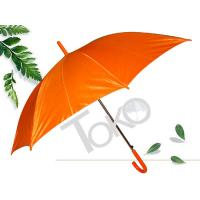 Quality Straight Ladies Walking Umbrella 190T Polester Fabric Orange Color Flute Long Ribs for sale