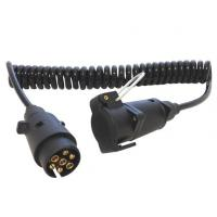 Quality Spring Coiled Electrical Wire With 7 Pin Small Round Trailer Plug for sale