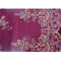 Quality Purple Home Textile Embroidered Fabrics High End Apparel Fabric for sale