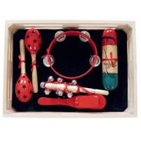 Quality 5 Pcs Simple Percussion Kids Musical Instrument Kawai Wood Toy Outfit with Wooden Box for sale