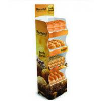 Quality 4 Tiers Supermarket Cardboard Floor Display Stand For Bread , 1500 X 450 X 400mm for sale
