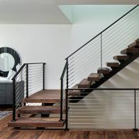 Quality Customized Modern Teak Stair Treads Mono Steel Stringer Wood Staircase for sale