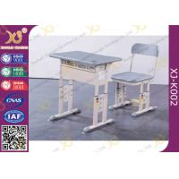 Quality Grey Adjustable Classroom Desk And Chairs For Nigeria Ghana / Educational Furniture for sale
