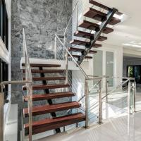 Quality Prafabricated Homes Mono Stringer Timber Wood Straight Staircase for sale