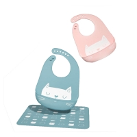 Quality Adults Silicone Bib With Food Catcher / Portable Skip Hop Silicone Bib for sale