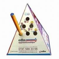 Quality Advertising Pop-up Pyramid Paper Pen Holder, Made of 500 Microns Box Board for sale