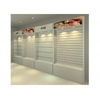 Quality MDF Glossy White Wall Mounted Display Cabinets Freestanding With Light Box for sale