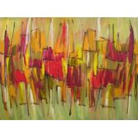Quality 2012 art abstract painting girl with flower for sale