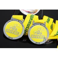 Quality Two Rivers Marathon Custom Sports Medals Raised Metal And Filling Color In Recessed Metal for sale