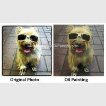Original Custom Oil Painting Portraits , Dog Pet Portraits From Photographs 16 X 16