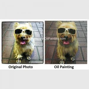 "Original Custom Oil Painting Portraits , Dog Pet Portraits From Photographs 16"" X 16"""