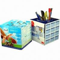 Quality Promotional Pop-up cube Paper Pen Holders with Offset Printing for sale