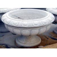 Quality White Stone Garden Sculptures Carved Large Granite Flower Pots For Backyard Ornaments for sale