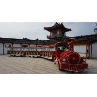 Quality Electric Trackless Sightseeing Amusement Park Train Two Carriages 42 Seats for sale