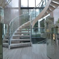 Quality House Used Woodern Tread Curved Staircases with Railing and Handrail for sale