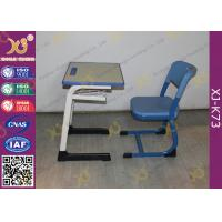 Quality Wooden Single And Double Student Desk And Chair Set Steel Frame for sale