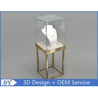 Quality Stain Steel Gold Frame Jewellery Glass Display Cabinets With Led for sale