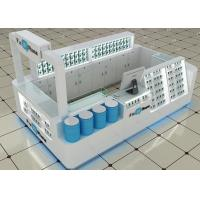 Buy Glossy White Blue Wood Cell Phone Kiosk In Mall Fully - Enclosed Structures at wholesale prices