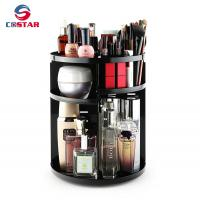 Quality Wholesale black 360 spinning rotating makeup stand organizer cosmetic storage display rack for sale