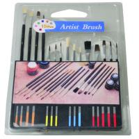 Quality Slim Long Handled Paint Brushes , Personalised Paint Brush Set T With Plastic Palette for sale