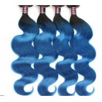 Quality Healthy Ombre Soft Blue Grade 8A Virgin Hair Extentions For Goddess for sale
