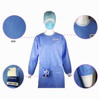 Quality Impervious Disposable Surgical Gown Fluid Proof Knitted Cuff Sleeve Standard for sale