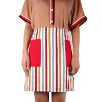 Quality Short Cooking Cotton Kitchen Apron With Christmas Decoration Stripe Printed for sale