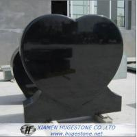 Quality Black Heart Shaped Granite Tombstone, High Polished Black Granite Monuments for sale