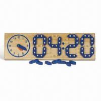 Quality Learning Clock, Made of Wood with Non-toxic Paint, Measures 47 x 14.3 x 3.2cm for sale