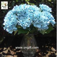 Quality UVG Blue 7 heads artificial cheap hydrangea fabric flowers wedding decoration centerpieces for sale