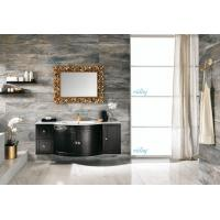 Quality High Level All Wood Vanity , Black Wood Bathroom Vanity With White Marble Countertops for sale