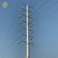 Quality 33KV 18m Steel Utility Pole , Steel Power Poles With Insulator And Conductor for sale