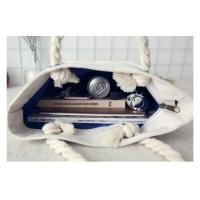 Heavy Duty Canvas Tote Bags , Cotton Rope Reusable Tote Bags With Bottom Gusset